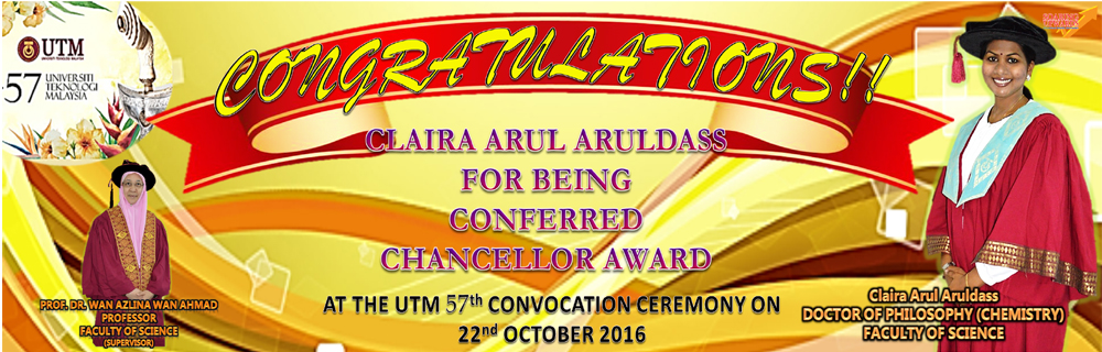 Faculty of Science student receive prestigious UTM Chancellor Award at UTM 57th Convocation.