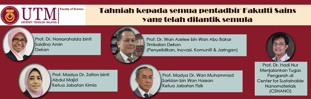 Tahniah! Pelantikan Semula Pentadbir Fakulti Sains