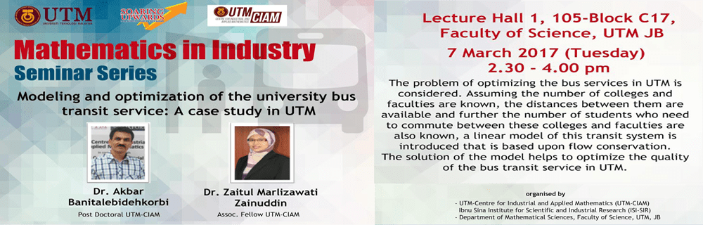 UTM-CIAM Mathematics in Industry Seminar Series