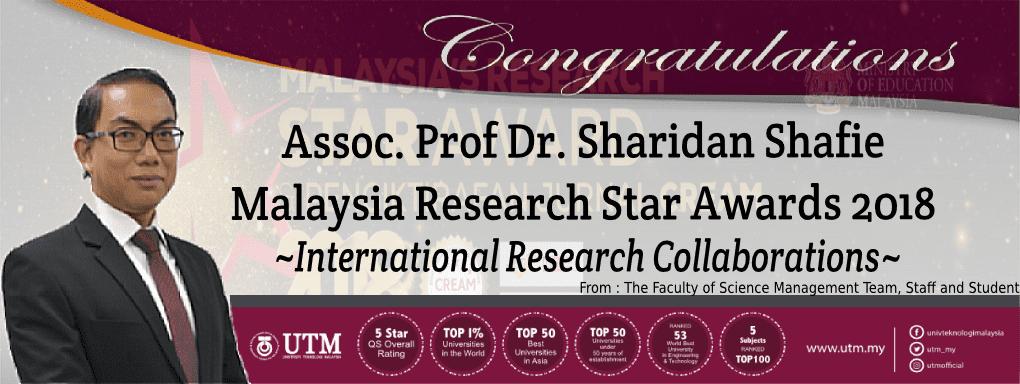 "CONGRATULATION!!!! ASSOC. PROF DR. SHARIDAN SHAFIE "" MALAYSIA RESEARCH STAR AWARDS 2018″ "" International Research Collaborations"""