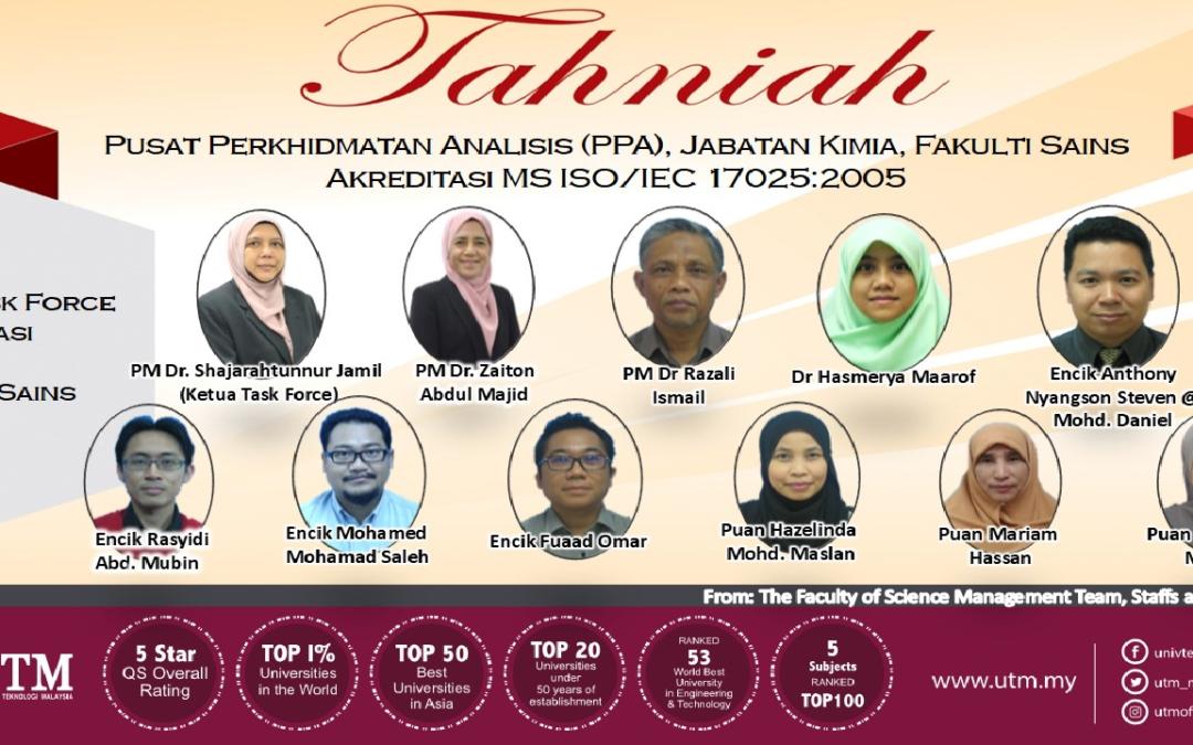 TAHNIAH!!! Ahli Task Force  Akreditasi  Makmal  Fakulti Sains